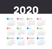 Calendar 2020 year. Color vector template. Week starts on Sunday. Basic grid. Pocket square calendar. Ready design
