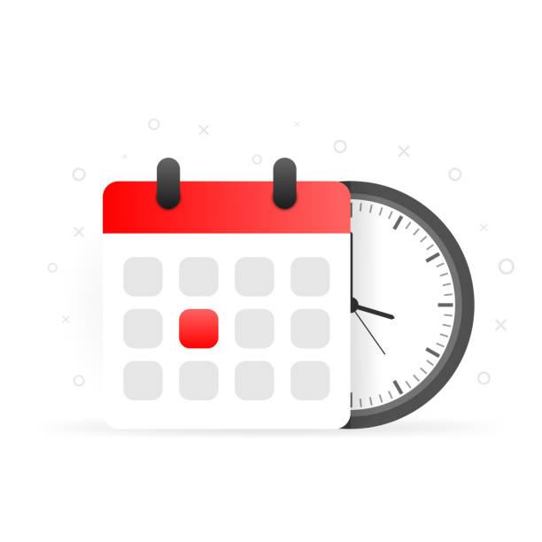 stockillustraties, clipart, cartoons en iconen met vector kalender en klokpictogram op witte achtergrond. - date