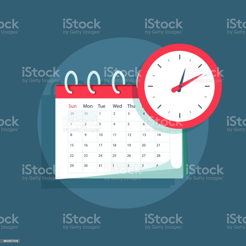 Vector calendar and clock icon. Schedule, appointment, important date concept. Modern flat design illustration vector art illustration