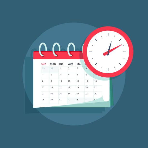 ilustraciones, imágenes clip art, dibujos animados e iconos de stock de vector calendario y reloj icono. calendario, cita, fecha importante concepto. ilustración de diseño plano - festividades y de temporada