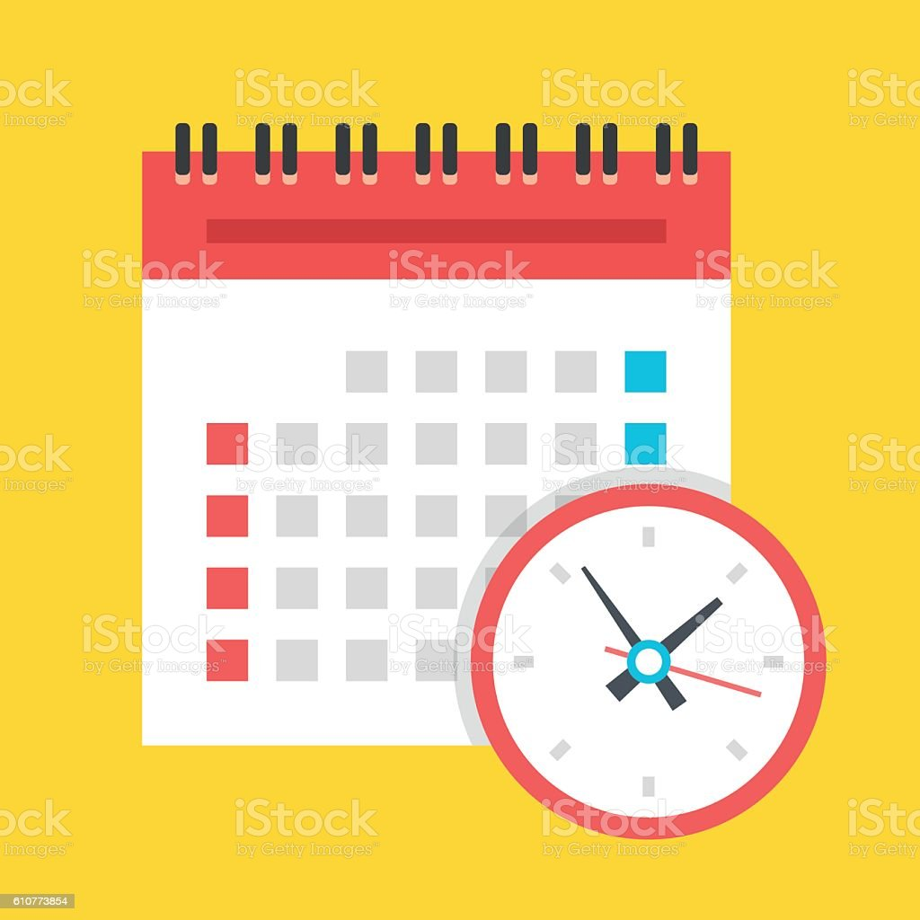 Vector calendar and clock icon. US version. Flat design illustration - ilustración de arte vectorial