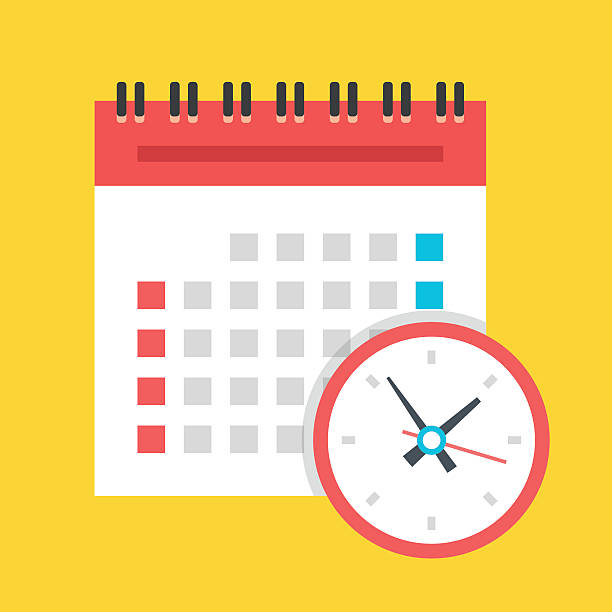 illustrations, cliparts, dessins animés et icônes de vector calendar and clock icon. us version. flat design illustration - agenda