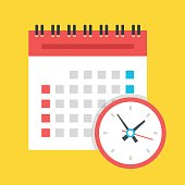 Vector calendar and clock icon. US version. Flat design illustration