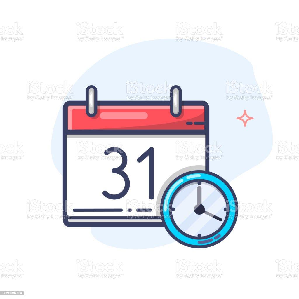 Calendario Vectores.Ilustracion De Vector Calendario Y Reloj Icono Icono De