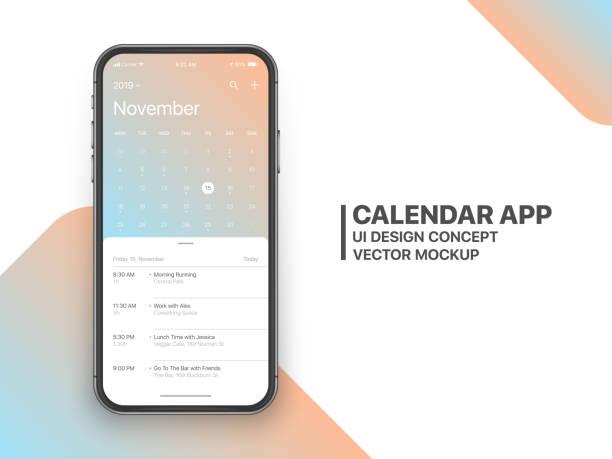 vektor-kalender-app ui-konzept - kalendervorlage stock-grafiken, -clipart, -cartoons und -symbole