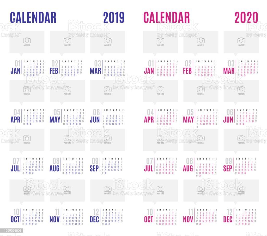 Vector Kalender 2019 Blauw En Roze 2020 Nieuwjaar Moderne Eenvoudig Ontwerp Mock Up Sjabloon Voor Het Toevoegen Van Uw Foto Vakantie Evenement Planner Week Begint Zondag Stockvectorkunst En Meer Beelden Van 2019 Istock