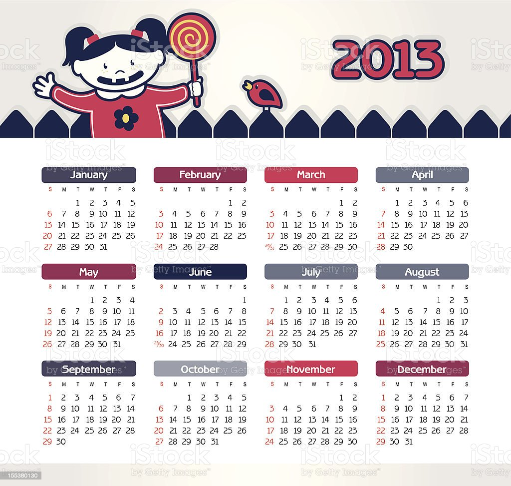 Vector calendar for 2013 vector art illustration