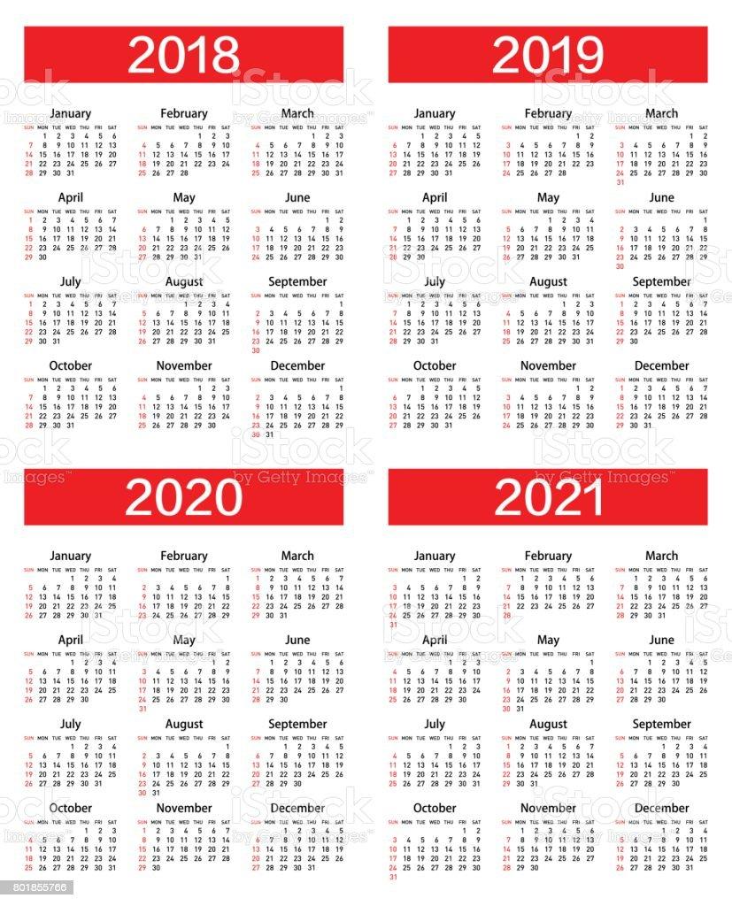 Modern 2019 2020 Mid Year Diary: Vector Calendar For 2018 2019 2020 2021 Year Stock Vector