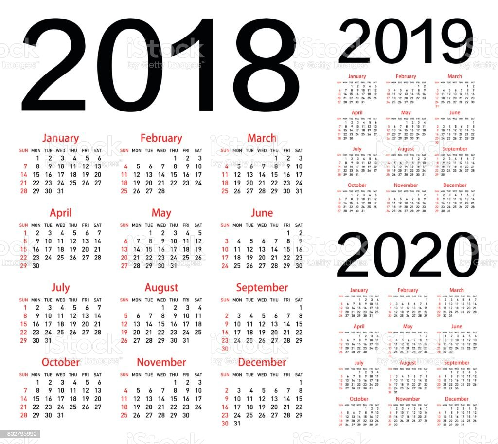 vector calendar for 2018 2019 2020 year stock vector art more images of 2018 802795992 istock