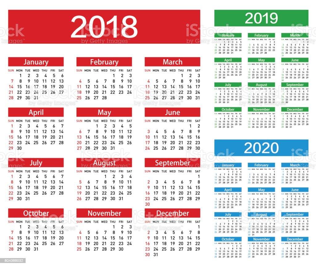 Vector Calendar For 2018 2019 2020 Year vector art illustration