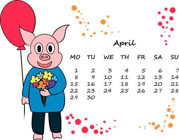 vector calendar for 2019 with the chinese symbol new year pig vector art illustration