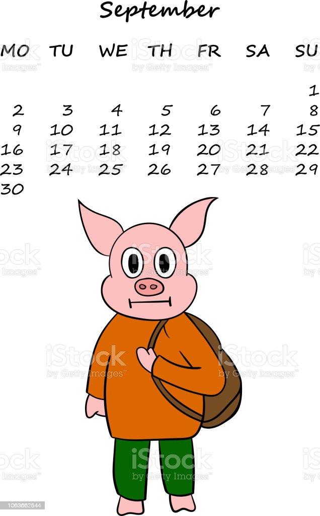 Vektorkalender Für 2019 Mit Dem Chinesischen Symbol Neujahr Schwein