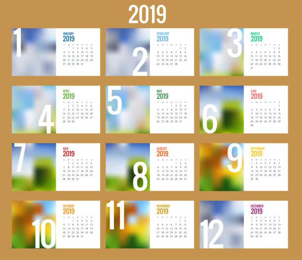 vektor-kalender für das jahr 2019. vector design drucken vorlage mit platz für foto. satz von 12 kalenderseiten. briefpapier design - tischkalender stock-grafiken, -clipart, -cartoons und -symbole