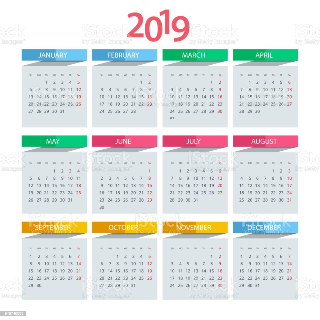 Calendar Pages Vector : Vector calendar for year design print template