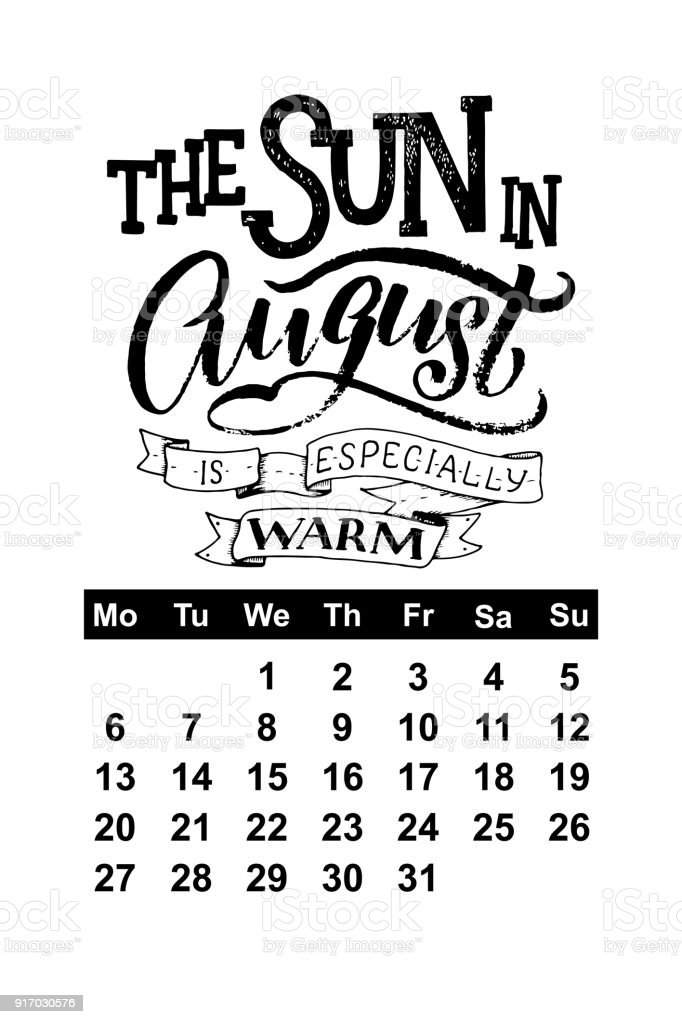 Vector Calendar For August 2018 Hand Drawn Lettering Quotes For