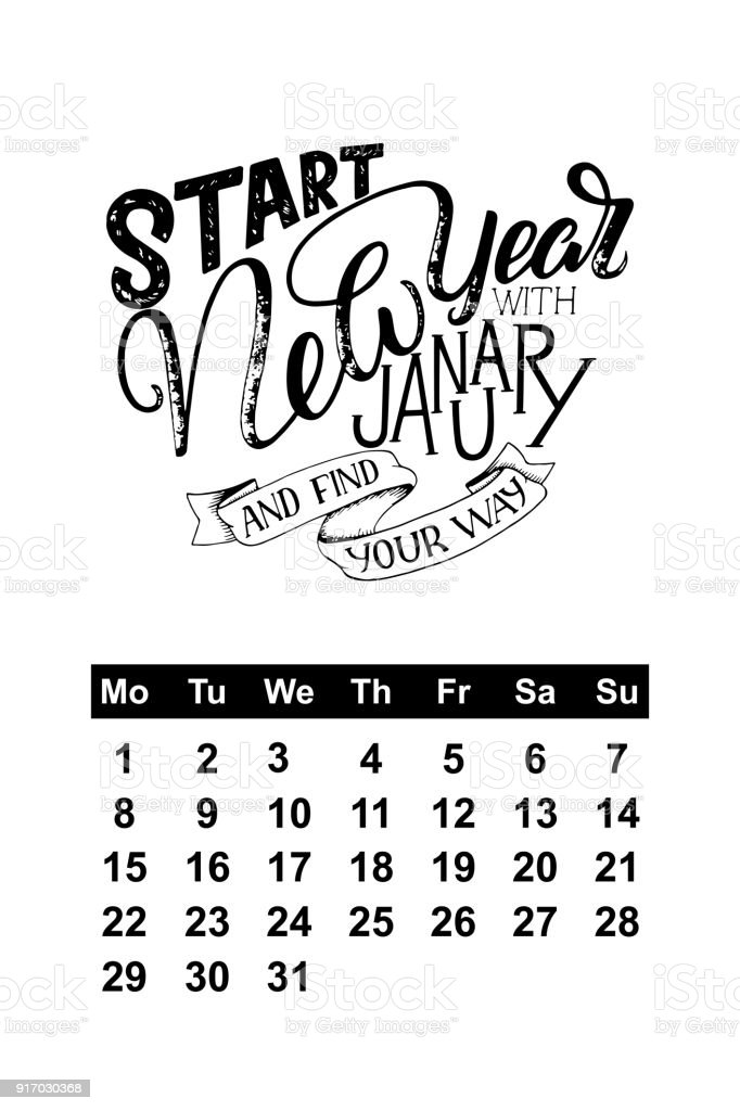 Vector Calendar For January 2018 Hand Drawn Lettering Quotes Design Royalty Free