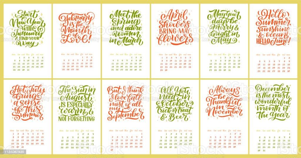Ilustración De Calendario Vectorial Para Los Meses 2 0 1 9