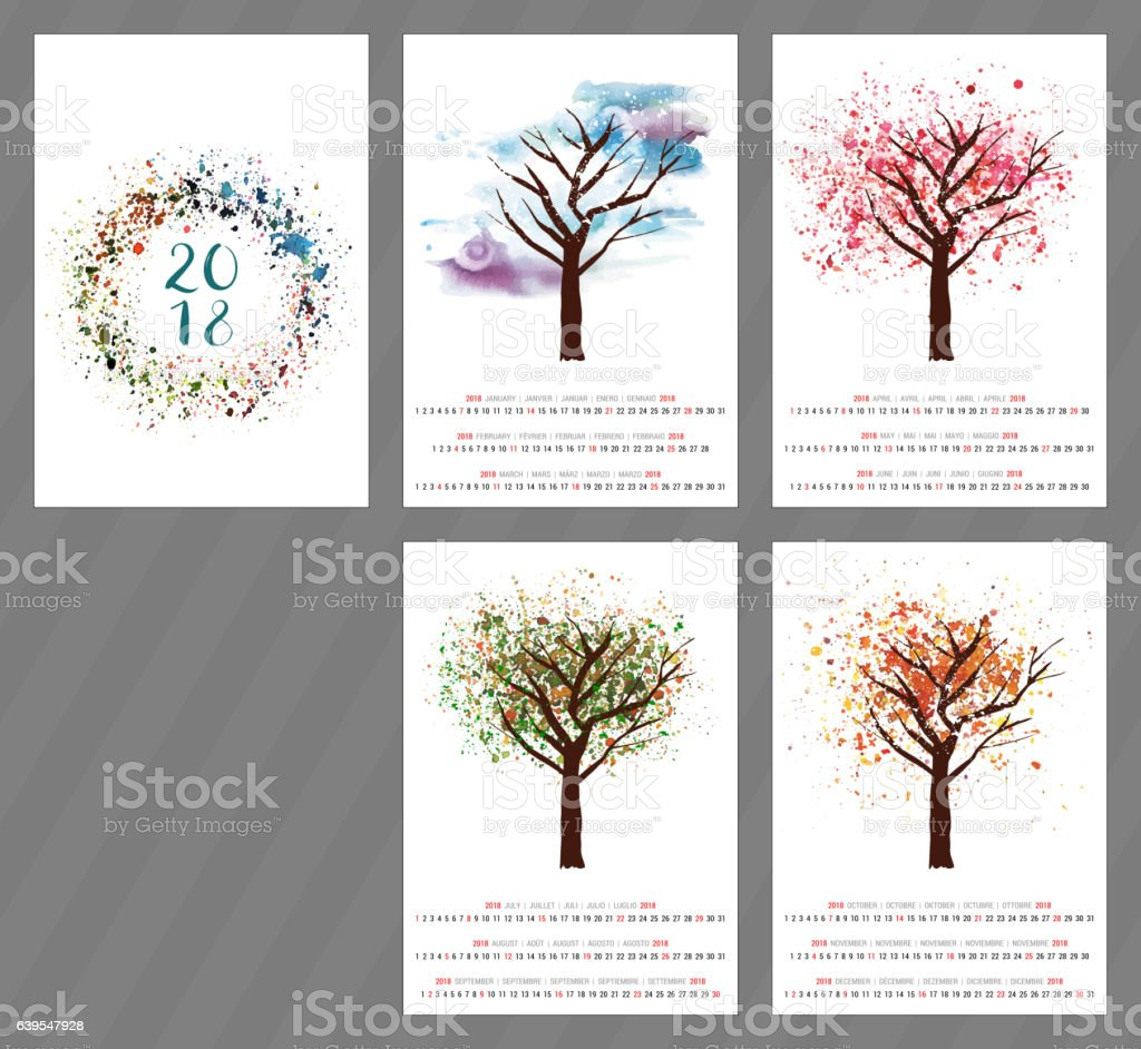 Vector calendar for year 2018 with watercolor tree and copyspace ベクターアートイラスト