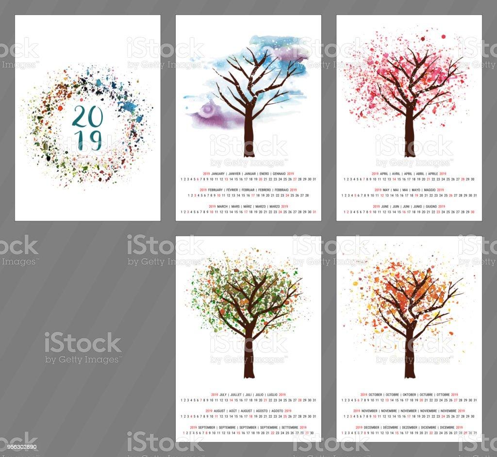 Calendario de vector para el año 2019 con acuarela árbol y copia - ilustración de arte vectorial