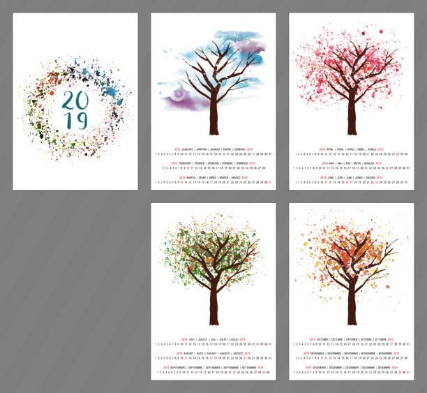 ilustraciones, imágenes clip art, dibujos animados e iconos de stock de calendario de vector para el año 2019 con acuarela árbol y copia - calendario de naturaleza
