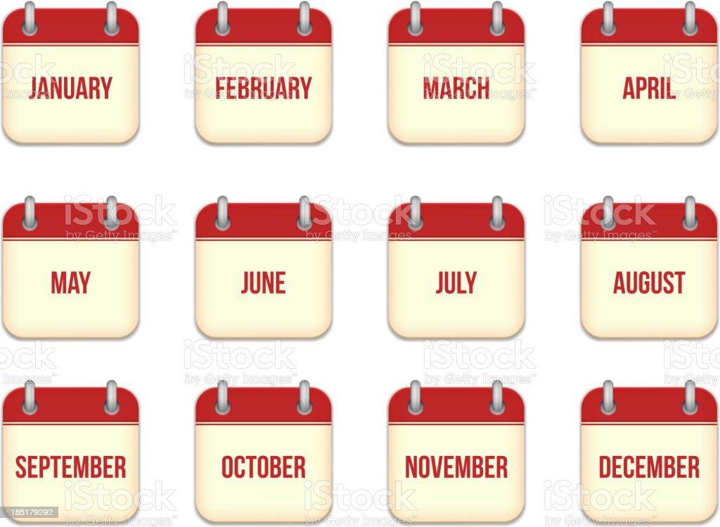 Vector calendar icons for each month royalty-free stock vector art