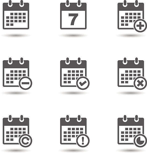 Vector calendar icons set Vector illustration of calendar icons set isolated on white background almanac stock illustrations