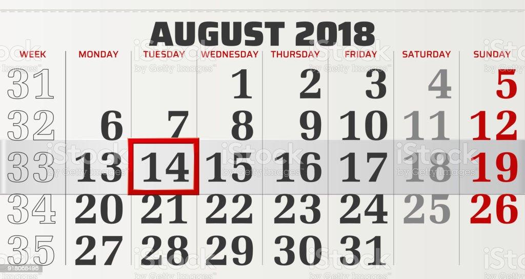 vector calendar of august 2018 royalty free stock vector art