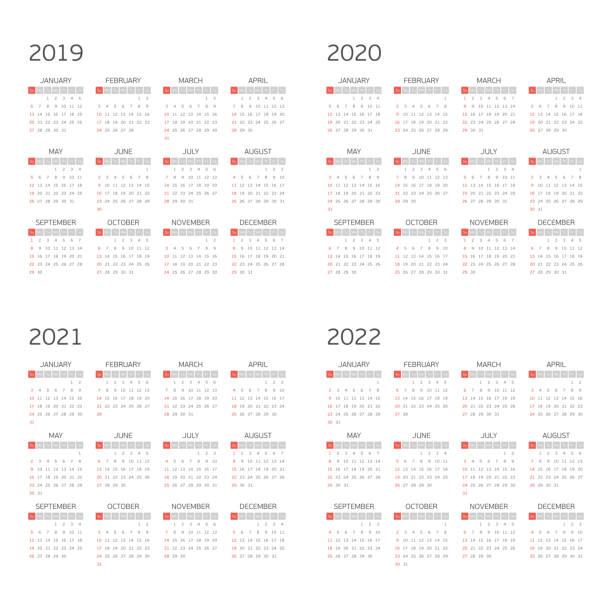 ilustraciones, imágenes clip art, dibujos animados e iconos de stock de calendario de vector en 2019 2020 2021 2022. - calendario abstracto