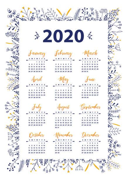2020 vector calendar with floral design vector art illustration