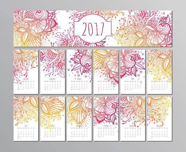 vector calendar with floral pattern. 2017 - 自然のカレンダー点のイラスト素材/クリップアート素材/マンガ素材/アイコン素材