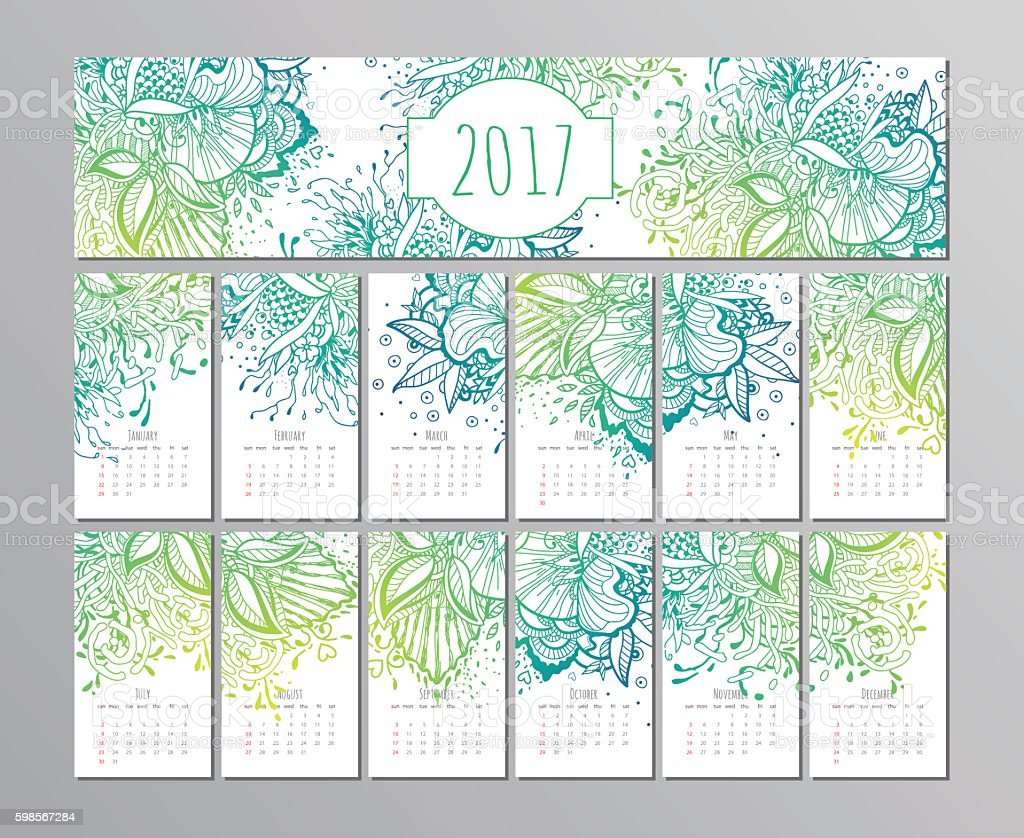 vector calendar with floral pattern. 2017 ベクターアートイラスト