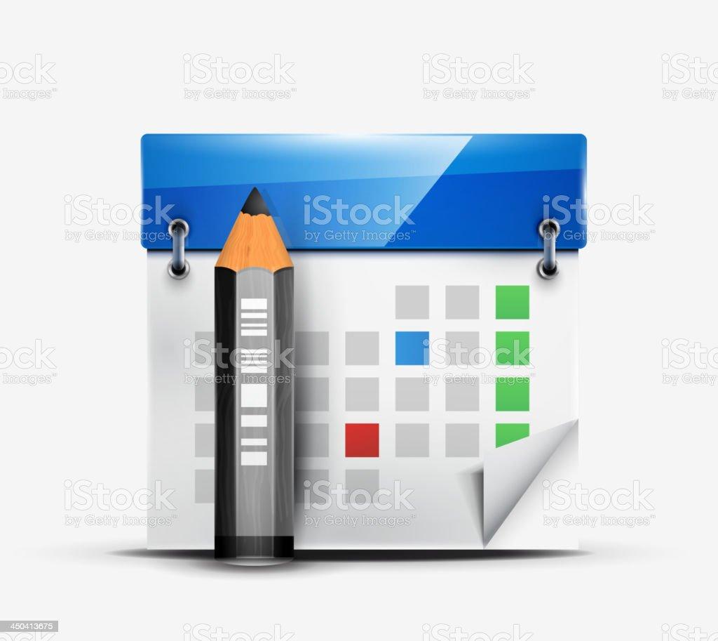 Vector calendar with pencil icon royalty-free stock vector art