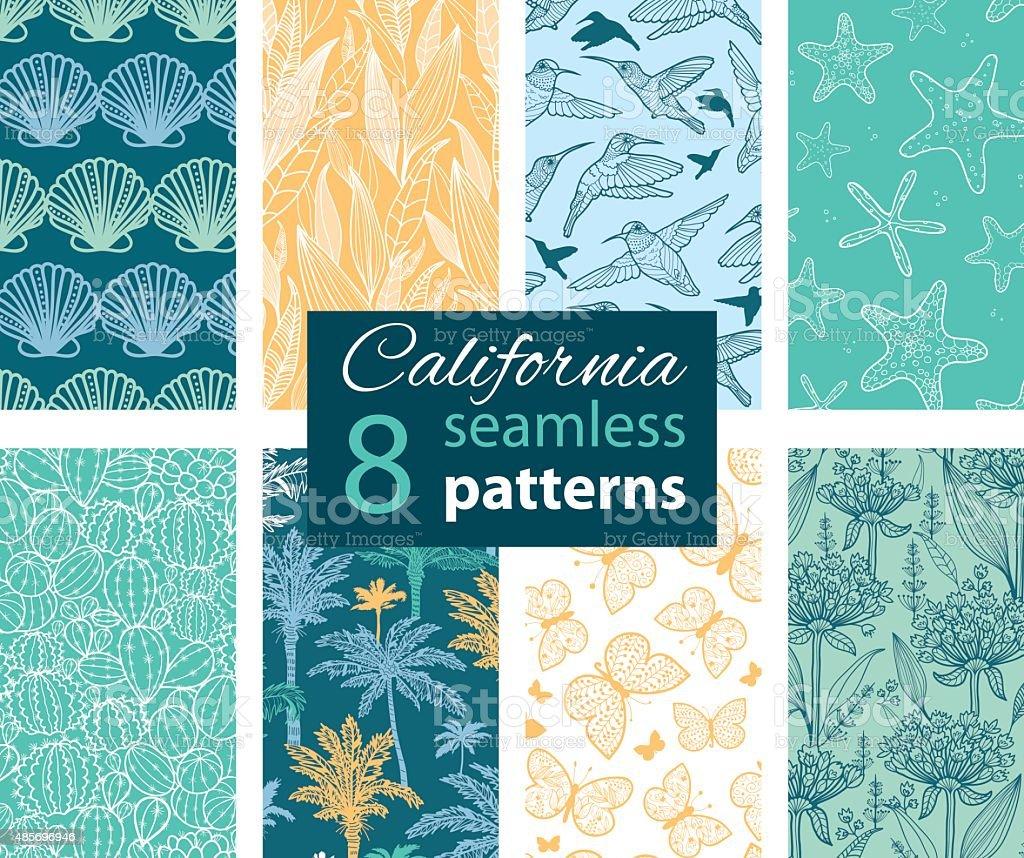 Vector California Nature Eight Set Seamless Pattern. Hummingbird, scallop seeshell vector art illustration