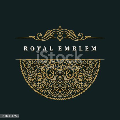 istock Vector calligraphic crest template. Luxury retro label 816931756