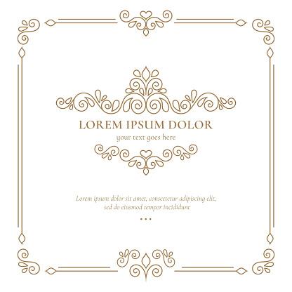 Vector calligraphic frame. Great for logo, monogram, invitation, flyer, menu, brochure.