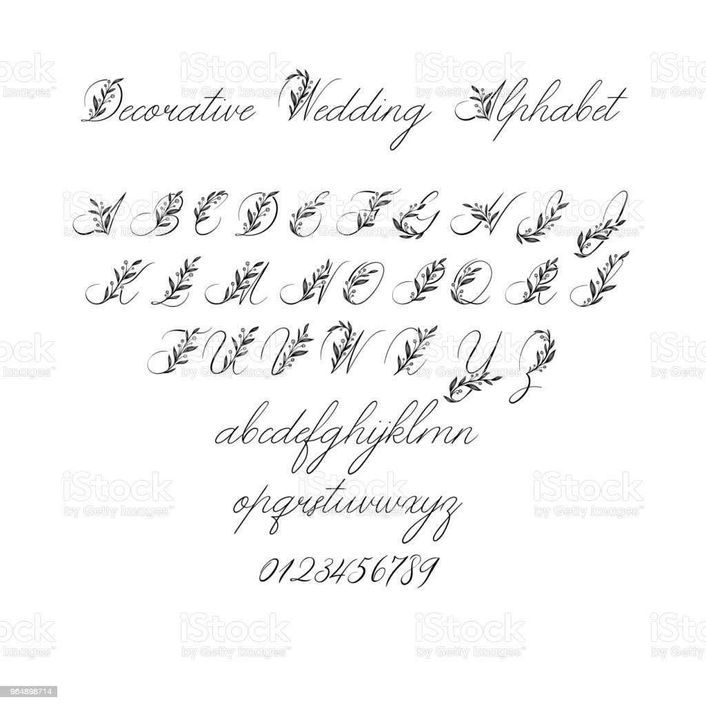 Vector Calligraphy Alphabet. Exclusive Floral Letters. Decorative handwritten brush font for: Wedding Monogram, Logo, Invitation. royalty-free vector calligraphy alphabet exclusive floral letters decorative handwritten brush font for wedding monogram logo invitation stock vector art & more images of advertisement