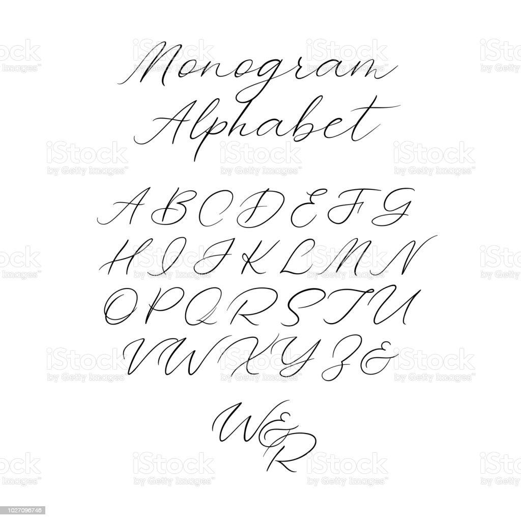 Vector calligraphy alphabet exclusive letters decorative handwritten vector calligraphy alphabet exclusive letters decorative handwritten brush font for wedding monogram logo stopboris Gallery
