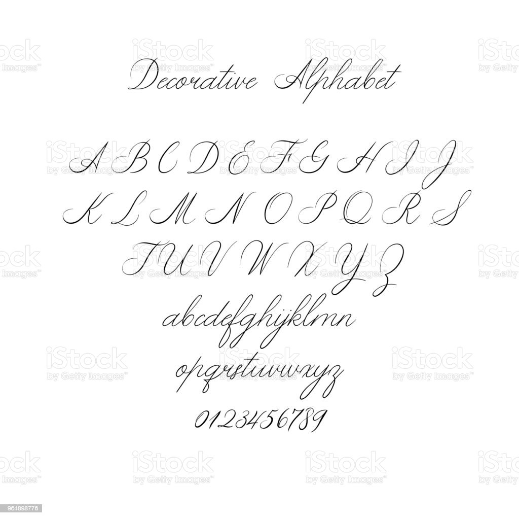 Vector Calligraphy Alphabet. Exclusive Letters. Decorative handwritten brush font for: Wedding Monogram, Logo, Invitation. royalty-free vector calligraphy alphabet exclusive letters decorative handwritten brush font for wedding monogram logo invitation stock vector art & more images of advertisement