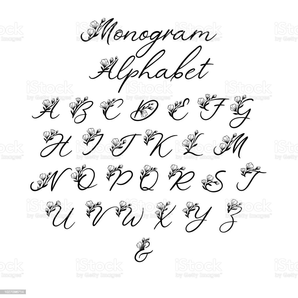 floral letters decorative handwritten brush font for wedding monogram