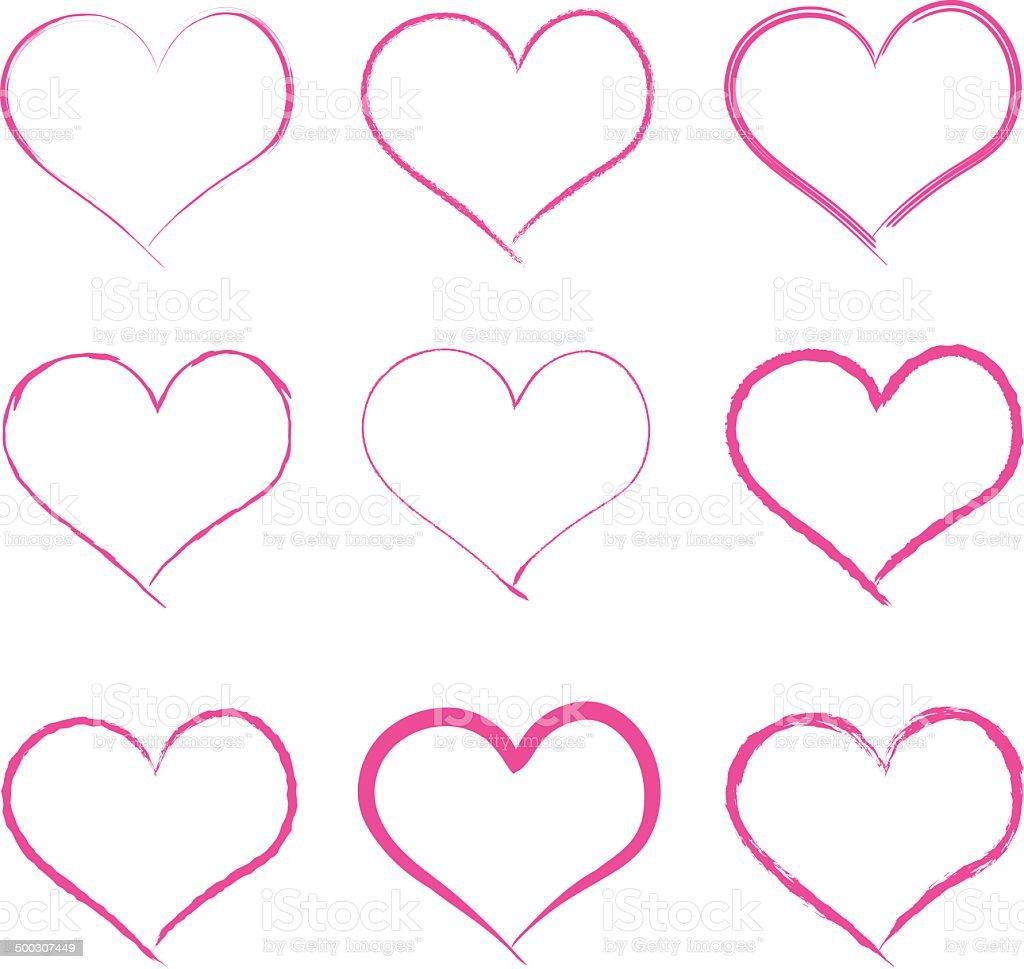 Vector calligraphy brush hearts vector art illustration