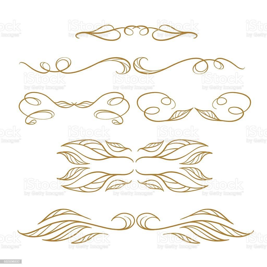 Vector calligraphy elements set. vector art illustration