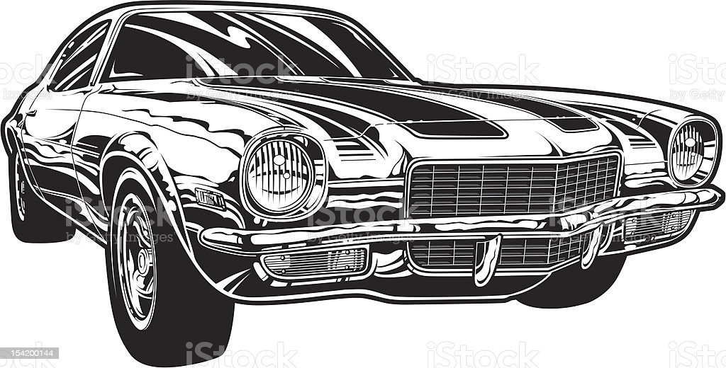 Vector Camaro Black And White Version Stock Vector Art More Images