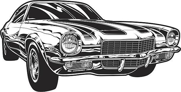 Vector Camaro: Black and White Version Vector illustration of a Camaro hot rod racing car in black and white. sports car stock illustrations