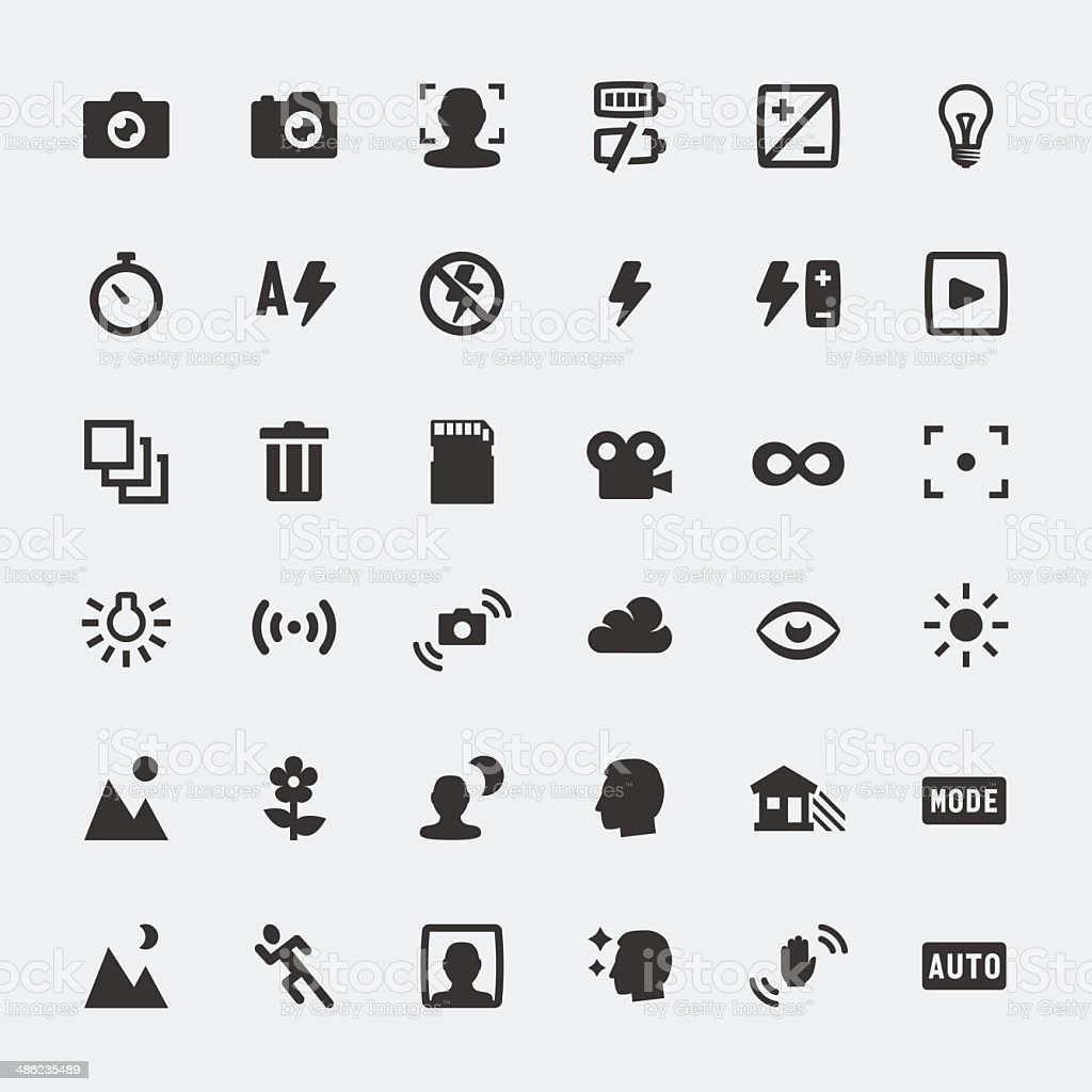 Vector camera functions mini icons set vector art illustration
