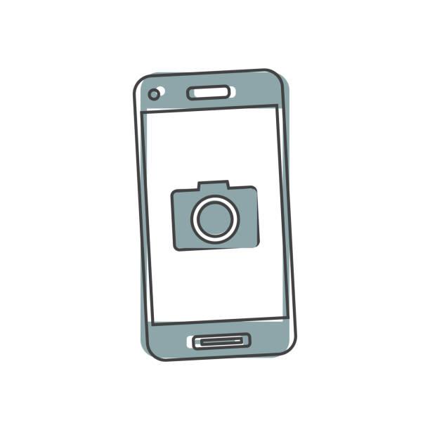 vektor-kamera-symbol im telefon-cartoon-stil auf weißem isolierten hintergrund. - fotohandy stock-grafiken, -clipart, -cartoons und -symbole