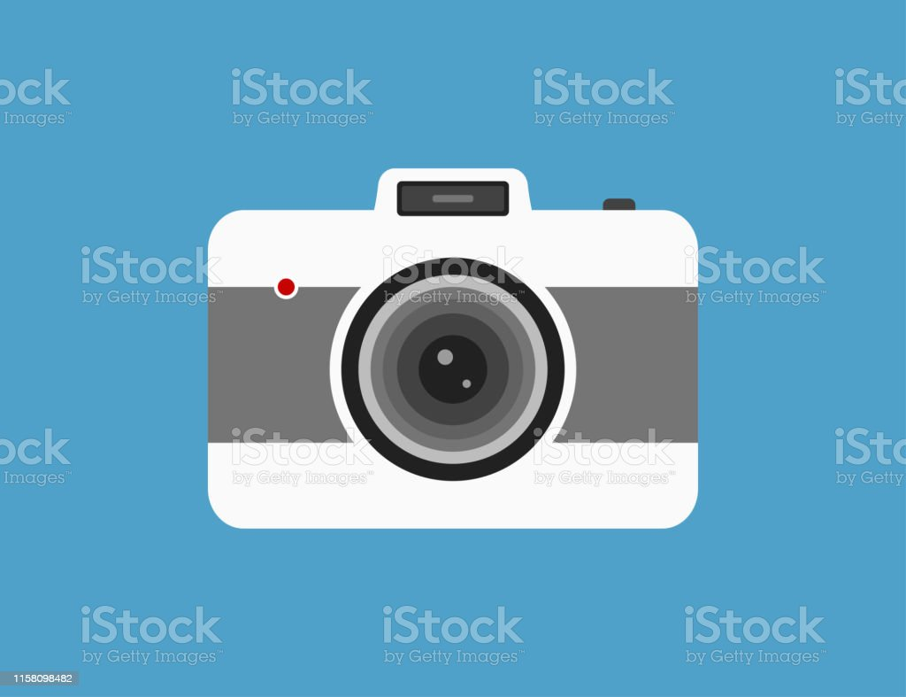Vector camera in flat retro style. Vintage photography technology....