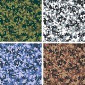 Tileable amoeba style camouflage pattern in 4 color schemes - jungle, snow, blue and desert.