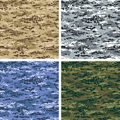 Tileable camouflage pattern in 4 colors - desert, alpine, night(blue) and woodland.