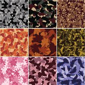 Camouflage vectors in various colors and styles.This file is exclusive to istockphoto.