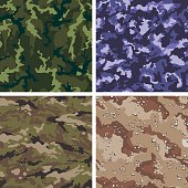 4 tileable camouflage vectors in various colors and styles. The styles are, clockwise from top left: